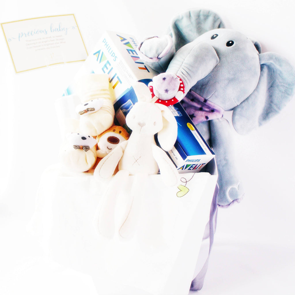 Jumbo Baby Elephant Gift Basket (Klang Valley Delivery)