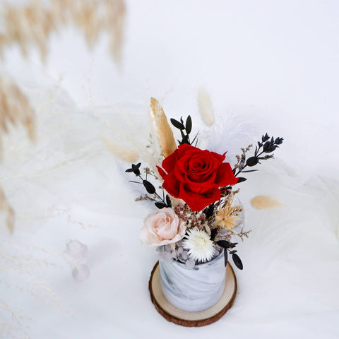 Iloveyou Marbleized Preserved Flower Pot