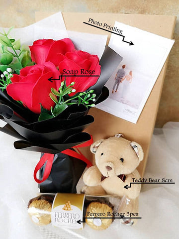 3 Stalks Soap Roses Teddy Bear With Ferrero Rocher 3pcs