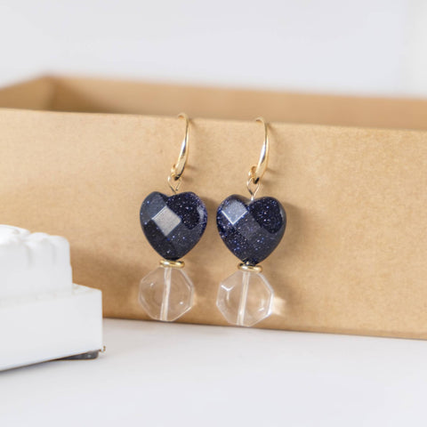 [Pure Gold Plated Series] Galaxy Blue Heart Earring