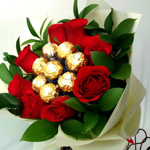 I Love You Red Roses and Chocolate Bouquet