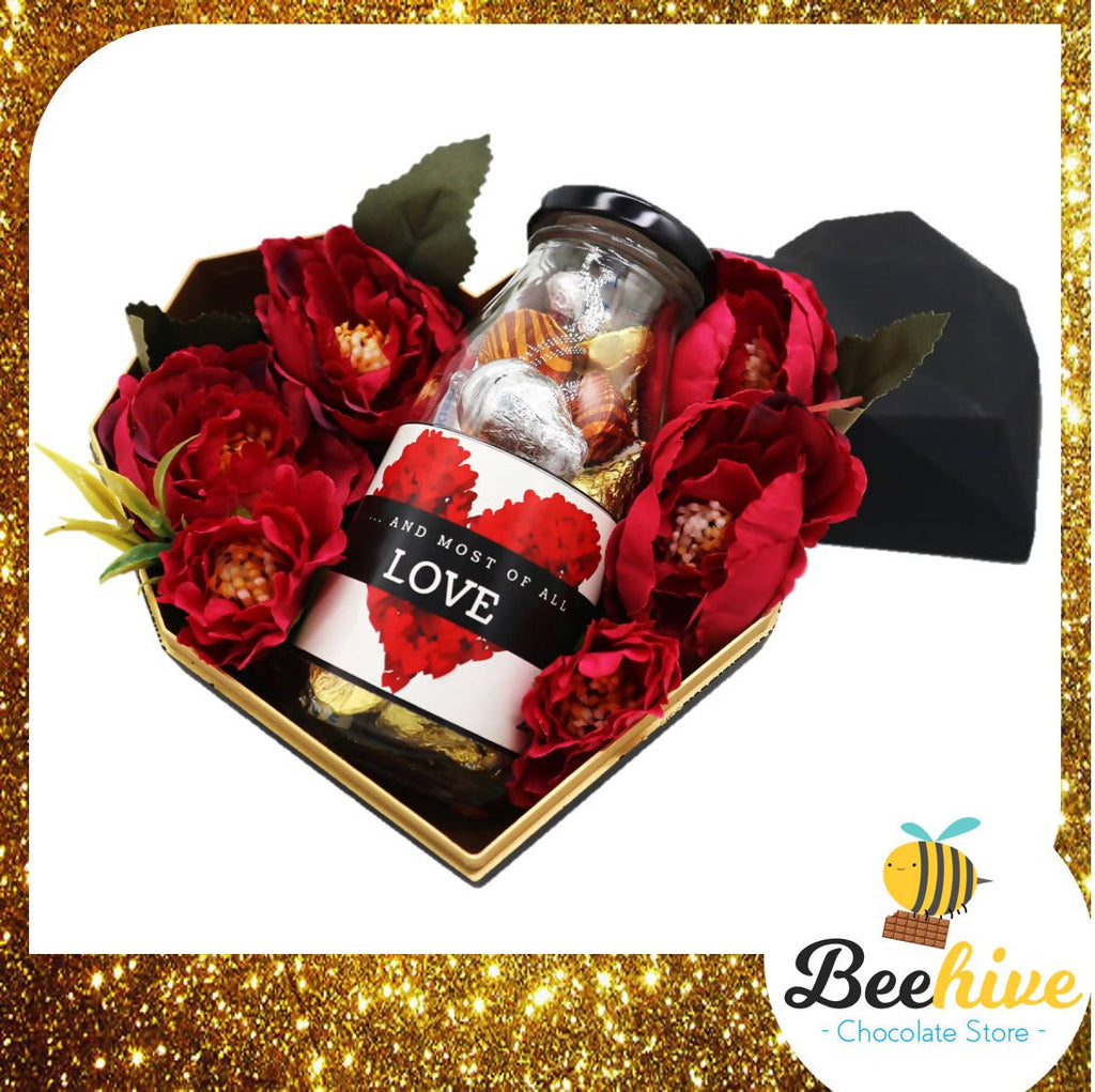 Beehive Chocolate Heart Shape Diamond Black Gift Tin Box with Flowers and Hersheys Kisses Chocolate