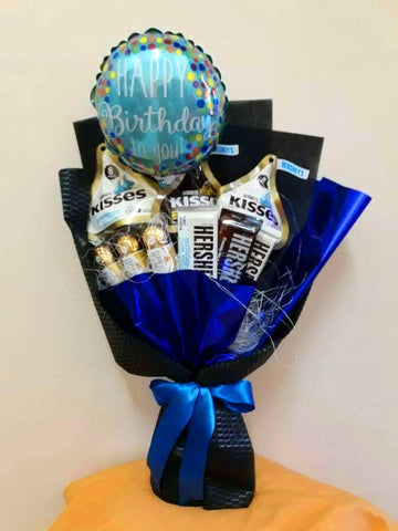 Blue Birthday Chocolate Bouquet