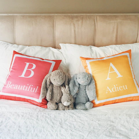 Personalised Two-Tone Cushion (Pre-order 2-4 weeks)