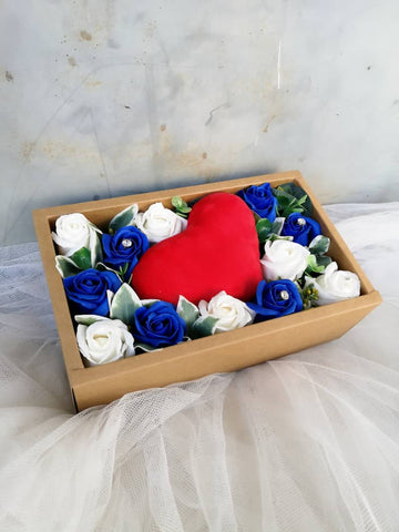 Soap Rose with Mini Heart Pillow Gift Box