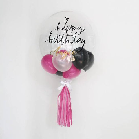"24"" Single Bubble Balloon (Black, Ivory & Fuchsia)"