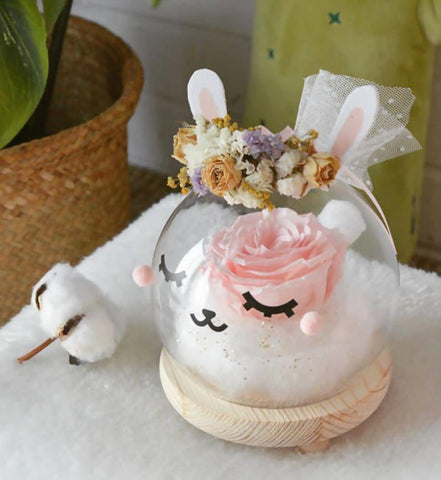 Mimi The Bunny Preserved Flower Glass Globe