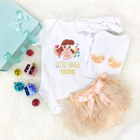 Little Angel GIRL with Music Instrument Romper Set + Gift Box