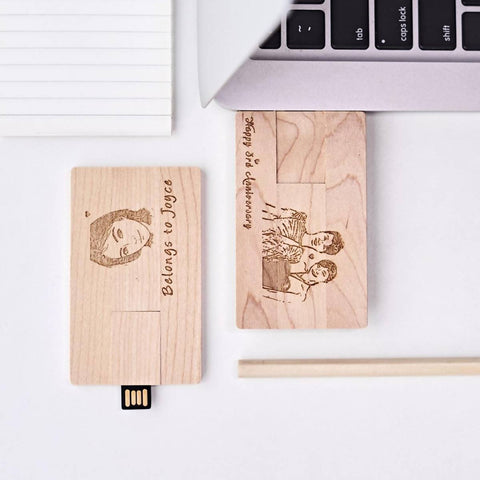 Personalized Wooden Card Shape USB Flash Drive (4-6 Working Days)