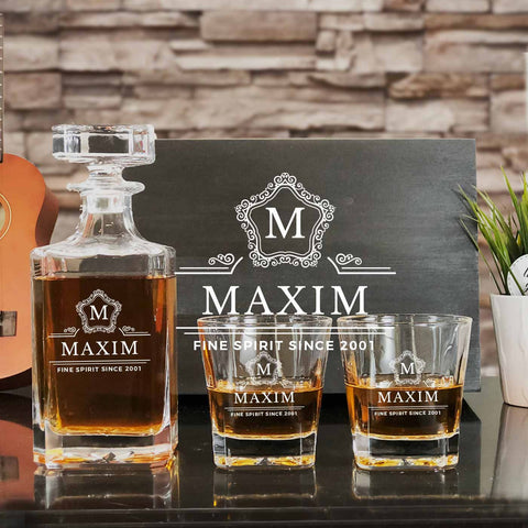 Personalized Whiskey Decanter Set (Design 4)