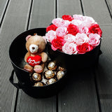 Devotion (Valentine's Day) (Soap Flower Roses with Ferrero Rocher & Teddy Bear)