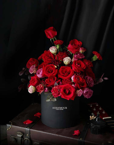 D Red Rose Black Flower Box Collection