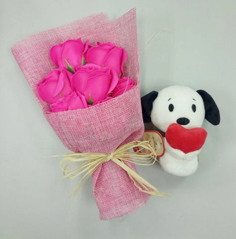 Pink Soap Roses with Itty Bitty Snoopy Holding Heart