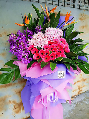 Pink Gerbera Orchids with Hydrangea Opening Flower Wooden Stand