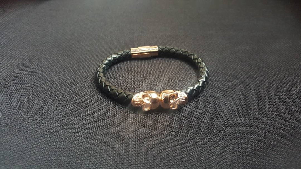 SONX Twin Rose Gold Skull Leather Bangle