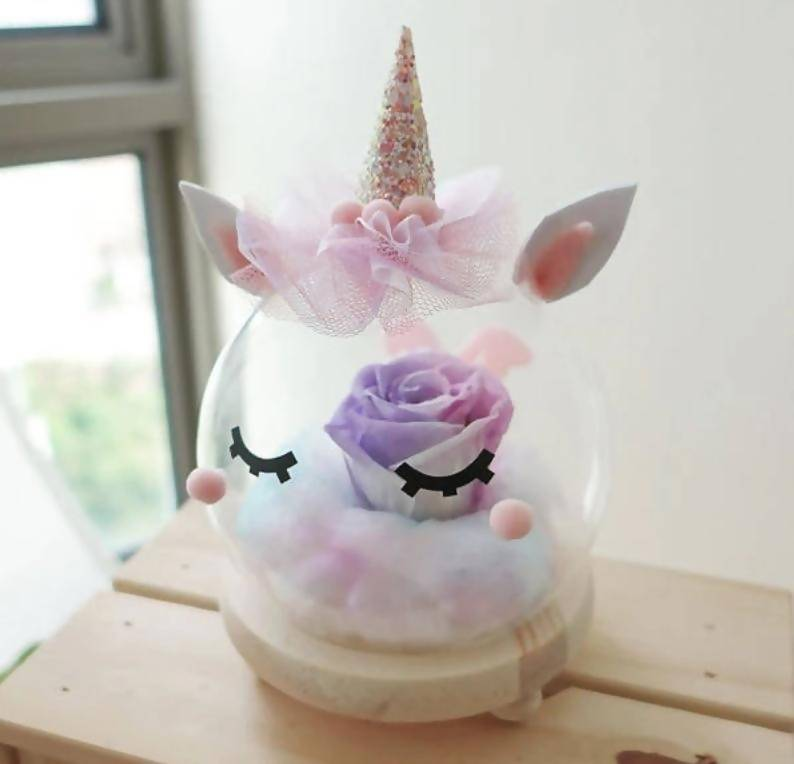 (Valentine's Day 2020) Bubu the Unicorn Preserved Flower Glass Globe