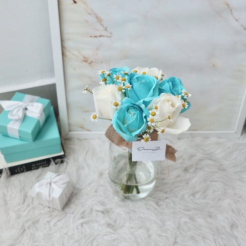 Tiffany Blue & White Roses in Jar