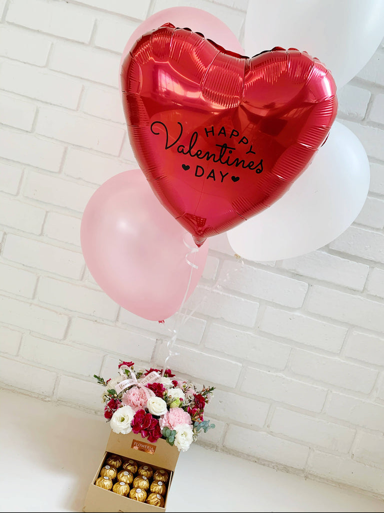 Bloom Box with Helium Balloon Bouquet