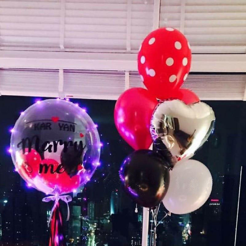 Customised 'Marry Me' LED Bubble Balloon Package