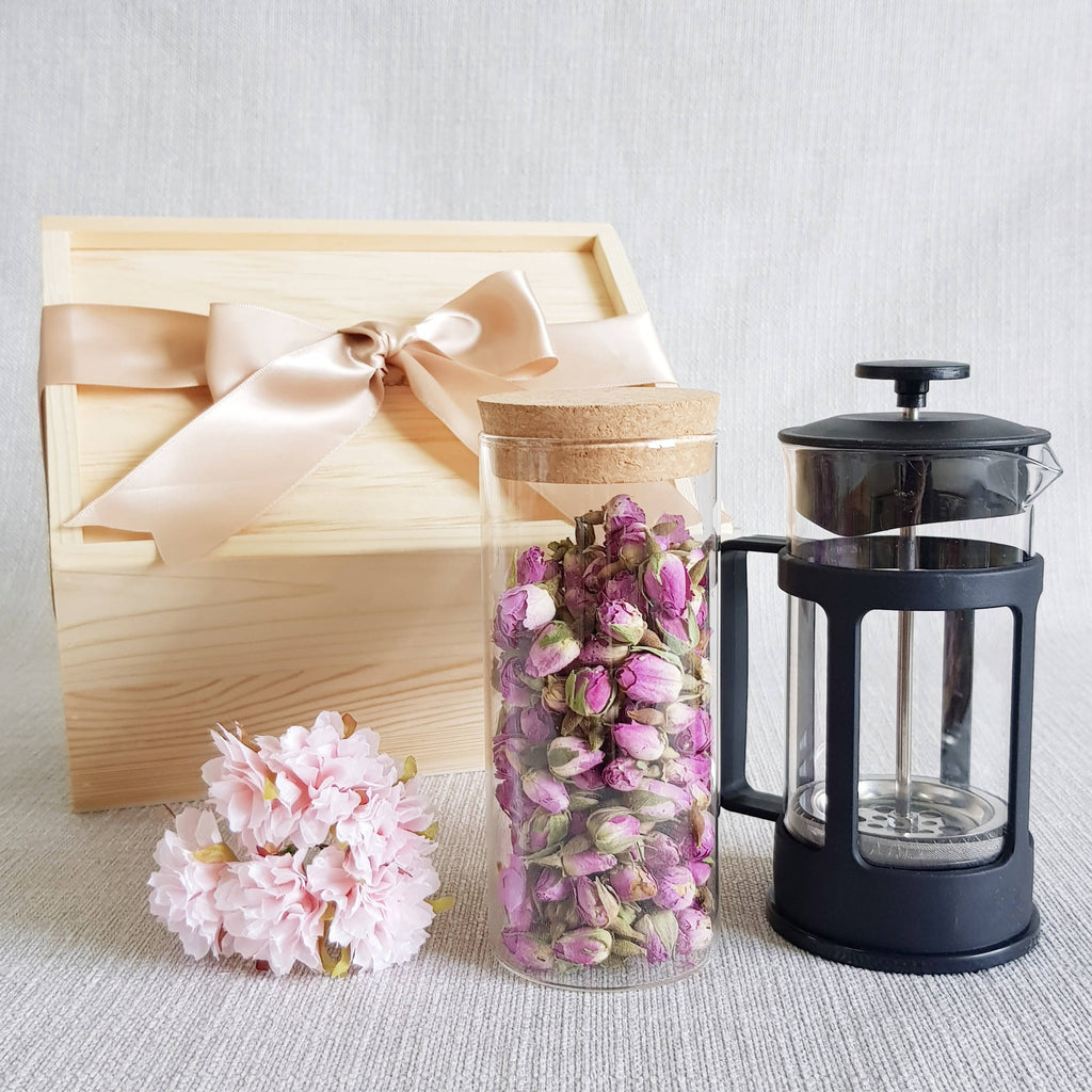FLOWER TEA PINE WOOD GIFT SET 01 - FRENCH ROSE (Klang Valley Delivery)