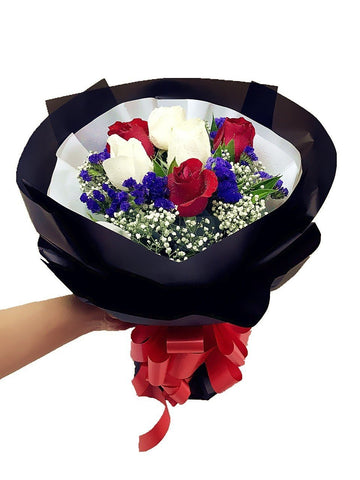 Red & White Rose Bouquet (Valentine's Special)