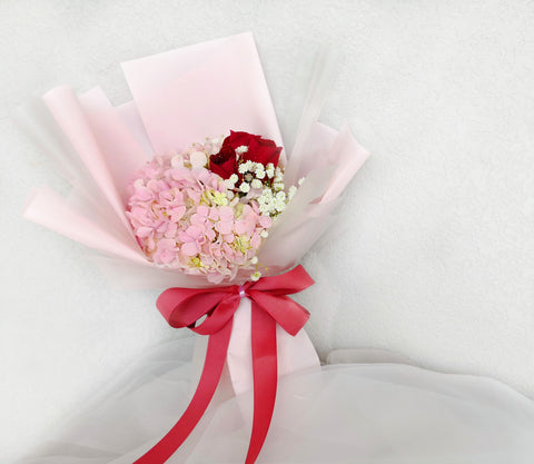 Clare Hydrangea & Roses Bouquet (Valentine's Special)