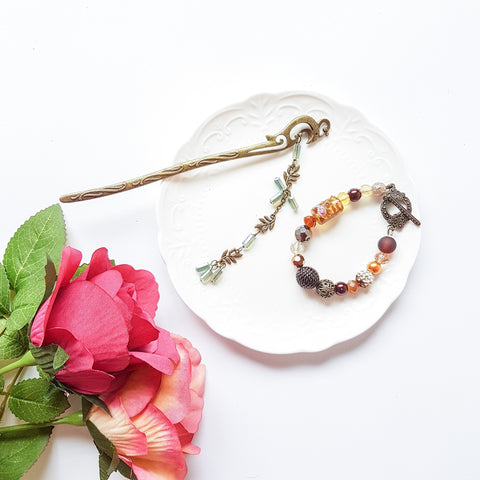 Modern Vintage Hair Stick & Bracelet Set