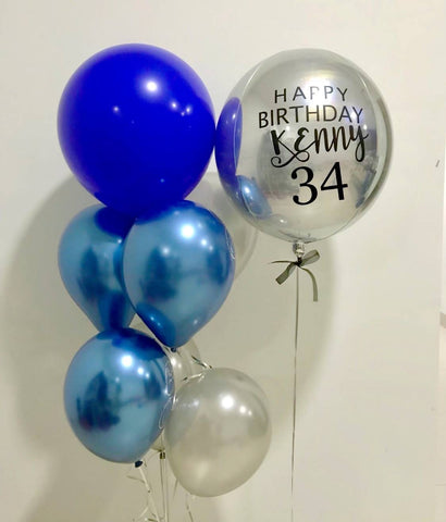 Silver Orbz Balloon Bouquet with Blue Chrome Balloons