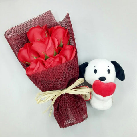 Red Soap Roses with Itty Bitty Snoopy Holding Heart