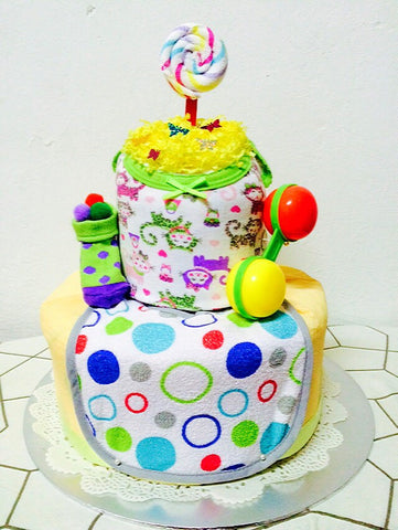 Rainbow Lollipop Diaper Cake