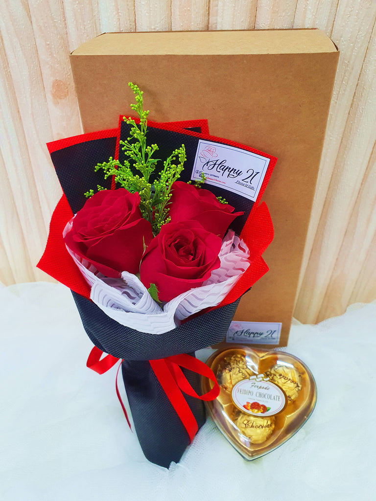 3 Stalks Rose With Love Chocolate (Valentine's Day 2020)