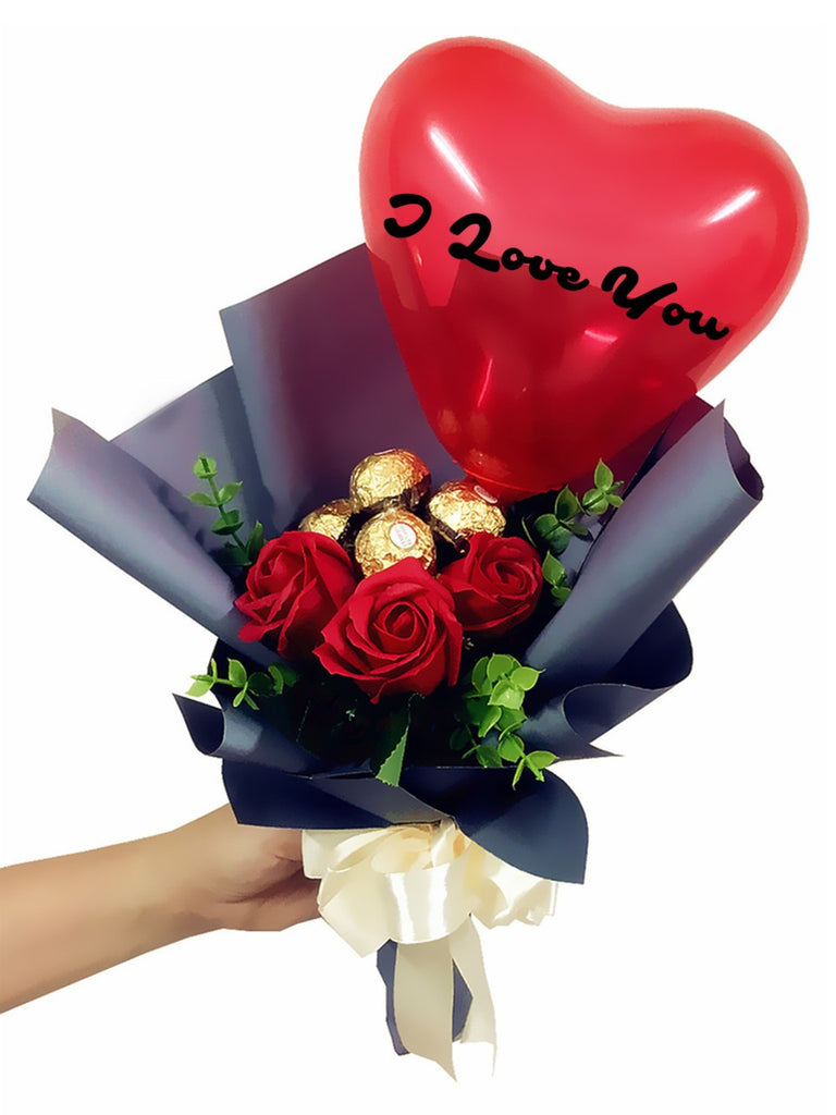 Red Soap Rose With Ferrero Rocher Bouquet | Giftr - Malaysia\'s ...