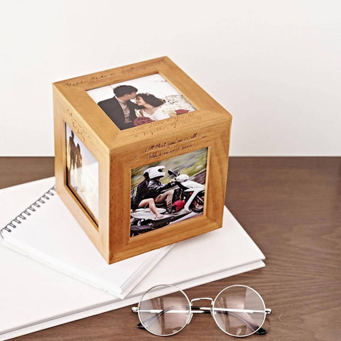 Personalized Wooden Photo Cube Box (Free Photo Printing) (4-6 working days)