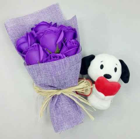 Purple Soap Roses with Itty Bitty Snoopy Holding Heart