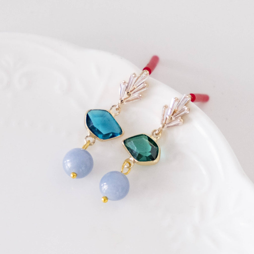 Leaf and Angelite Stone Gold Earring