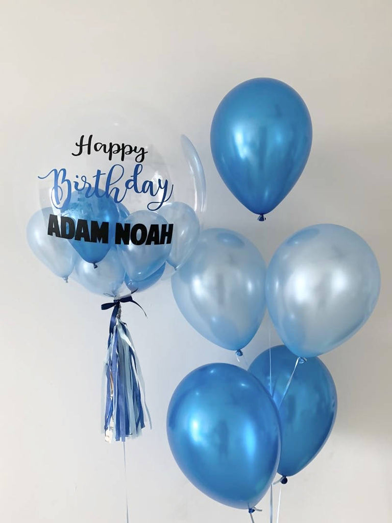 Customised Bubble Balloon Package (Blue & Pastel Blue Theme)