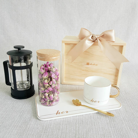 FLOWER TEA PINE WOOD GIFT SET 07 - FRENCH ROSE (Nationwide Delivery)