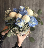 Blue Rose with Ping Pong Flower Box