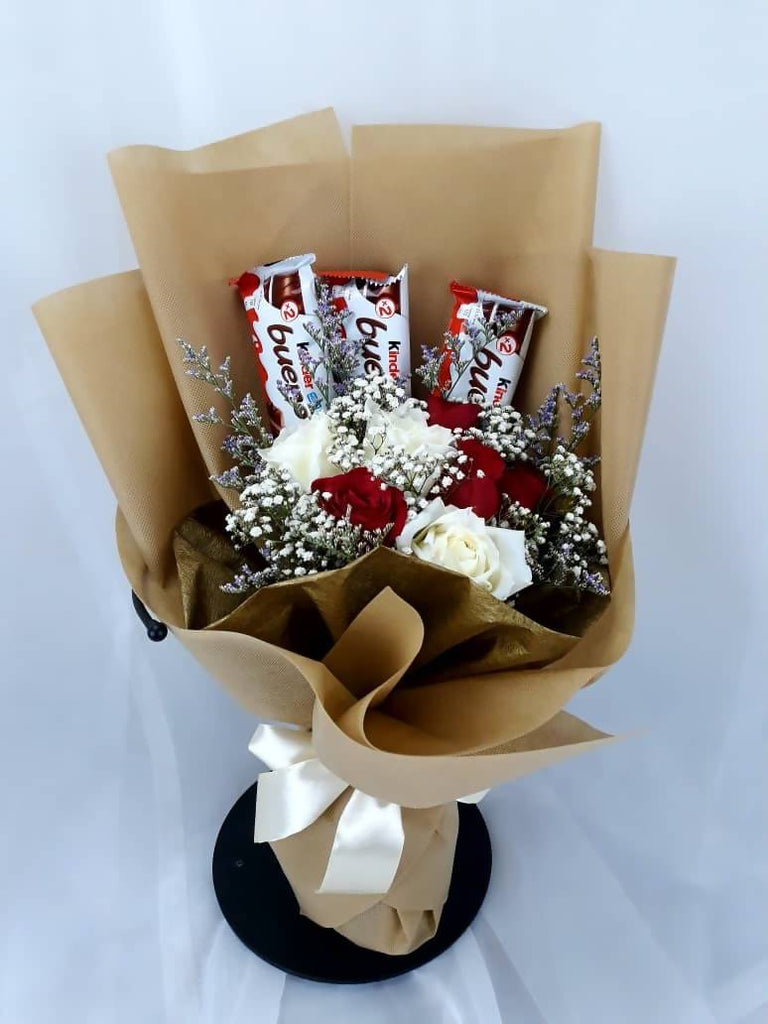 Red and White Roses with Chocolates Bouquet