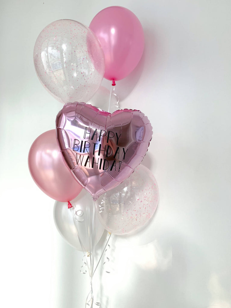 Pearl Pink Metallic Heart Bouquet