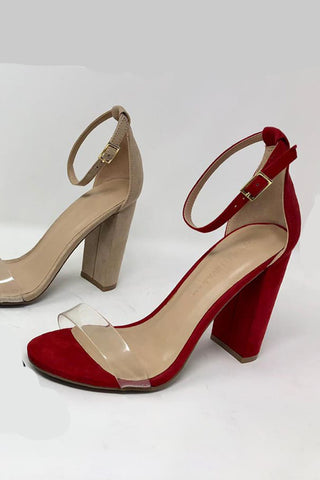 One and Only Clear Strap Block Heels | Red
