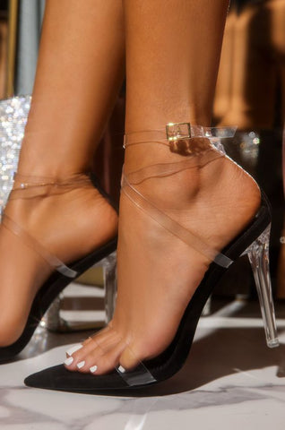Mean Girl Clear Stiletto Heels | Black
