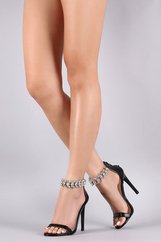 All Done Up Rhinestone Stiletto Heels | Black