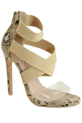 Natural Instinct Snake Print Stiletto Heels | Nude
