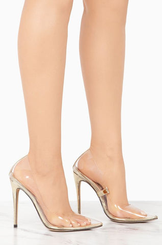 Hollywood Clear Stiletto Pumps | Gold