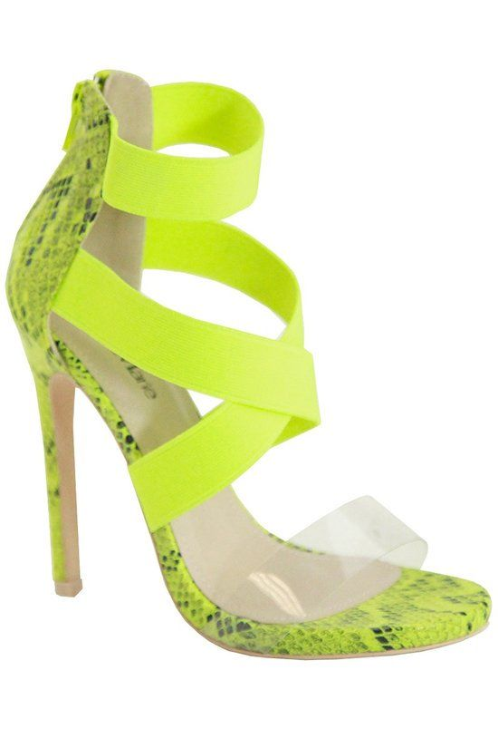 Natural Instinct Snake Print Stiletto Heels | Neon Green