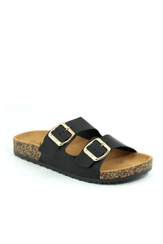 Eyes on Me Cork Bottom Sandals | Black