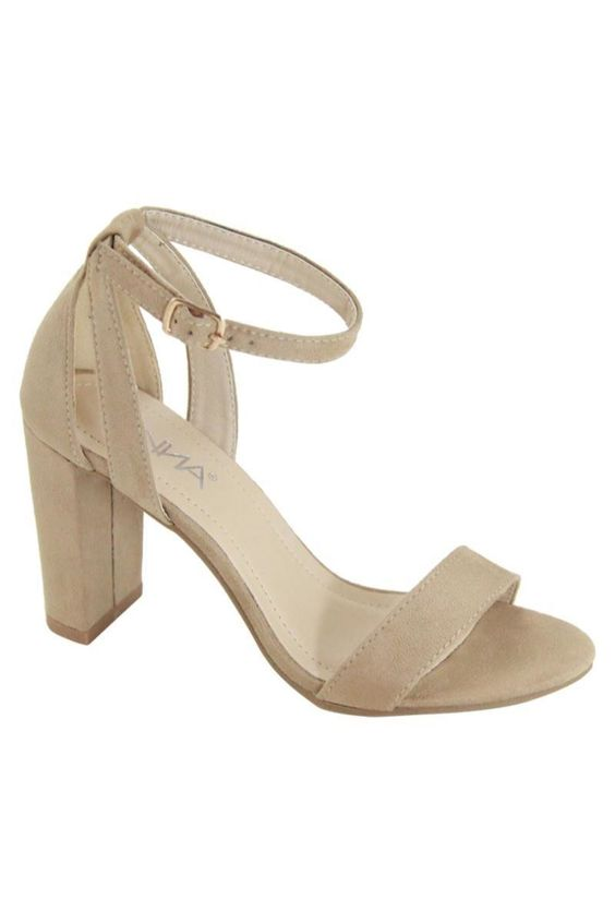 Divine Ankle Strap Block Heels | Taupe