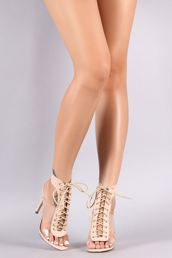 Right Lace Up Clear Strap Heels | Nude
