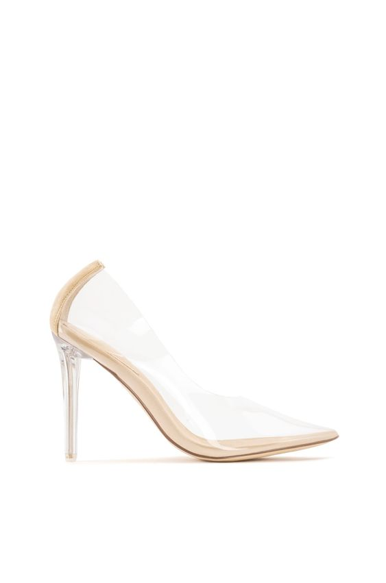 Cinderella Clear Stiletto Pumps | Nude